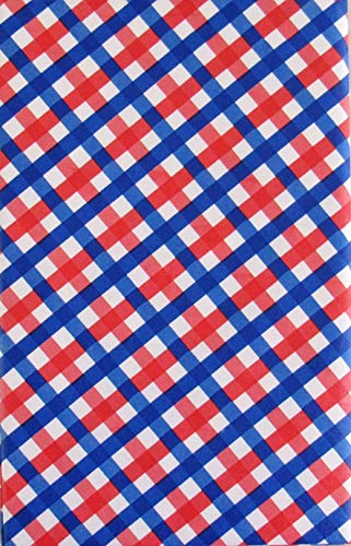 Patriotic Red, White and Blue Check Pattern Vinyl Flannel Back Tablecloth (52