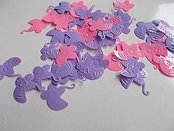 500 Pieza colorido Confeti lila, azul para niña (carrito de bebé, coche de bebé) para Motivos como Nacimiento, Bautizo etc.: Amazon.es: Oficina y papelería