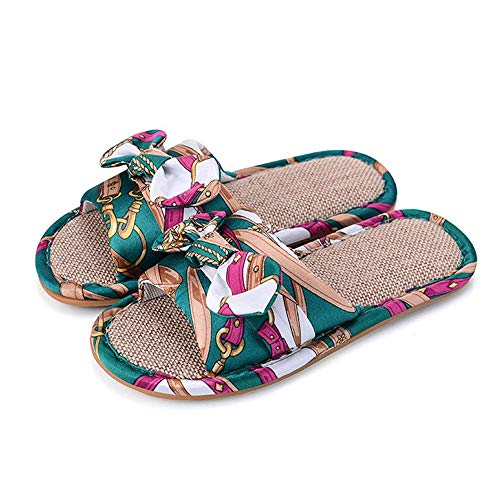 Slides 1 Ourdoor House Bow Indoor Linen Women Open Toe Flax Green Casual Slippers 4qw7wa1v