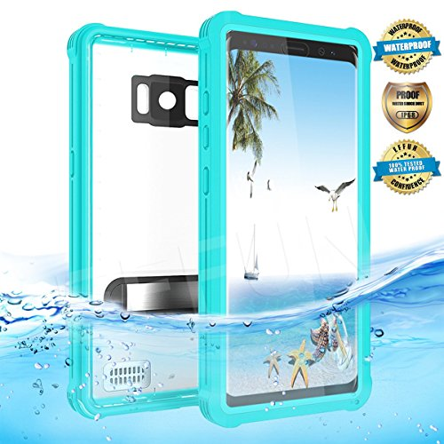 Samsung Galaxy S8 Waterproof Case, Effun IP68 Certified Waterproof Underwater Dustproof Snowproof Shockproof Case with Kick Stand, PH Test Paper and Floating Strap for Samsung S8 (5.8inch) Aqua Blue
