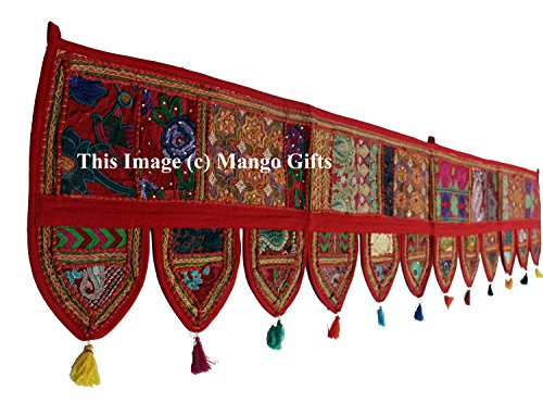 (Mango Gifts Ethnic Wall Hanging Home Decor Vintage Patchwork Door Topper Indian Valances Hand Embroidered Patchwork Toran 80