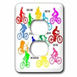 3dRose Alexis Design - Sport Bicycle - Colorful bicycle riders and motivational biking slogans on white - Light Switch Covers - 2 plug outlet cover (lsp_281052_6)