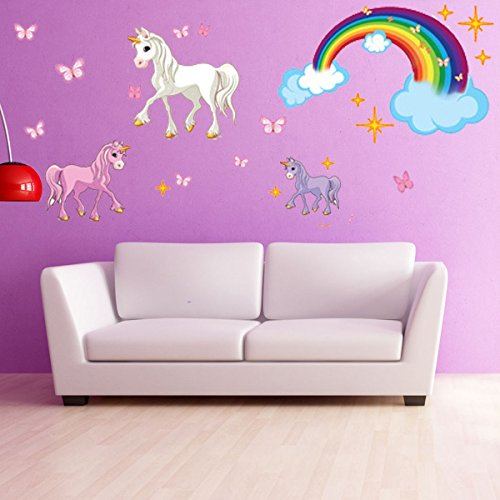 Unicorn Set Wall Decal With Rainbow by Style