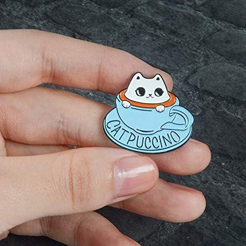 SHUIQUAN ブルーピン猫コーヒースケルトンカップティーポット魚のラペルバッジウェーブ雨雲氷河漫画のエナメルブローチデニムジャケットバッグジュエリー (Color : Blue 1)