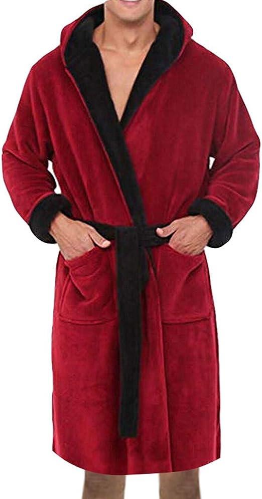 Absorbant et Confort Peignoir Cinnamou Homme Peignoir de Bain pour Homme Coton avec Capuche Ceinture et Boucle d/'Accroche Doux