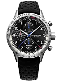 Men's 'Freelancer' Swiss Automatic Stainless Steel and Leather Casual Watch, Color:Black (Model: 7754-TIC-05209)