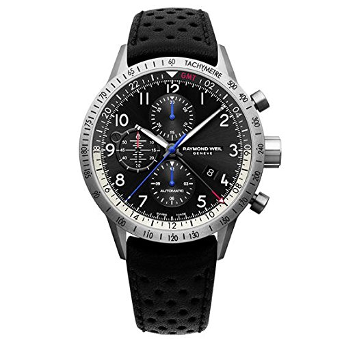 Raymond Weil Men's 'Freelancer' Swiss Automatic Stainless Steel and Leather Casual Watch, Color:Black (Model: 7754-TIC-05209)