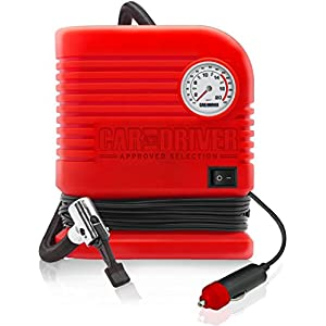 Car and Driver Home Use Inflator 300 PSI Portable Air Compressor with Cigarette Lighter Adapter, Red