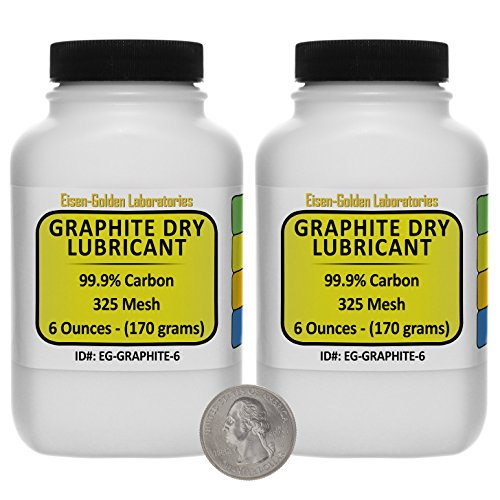 Graphite Dry Lube [C] 99.9% ACS Grade Powder 12 Oz in Two Space-Saver Bottles USA by Eisen-Golden Laboratories