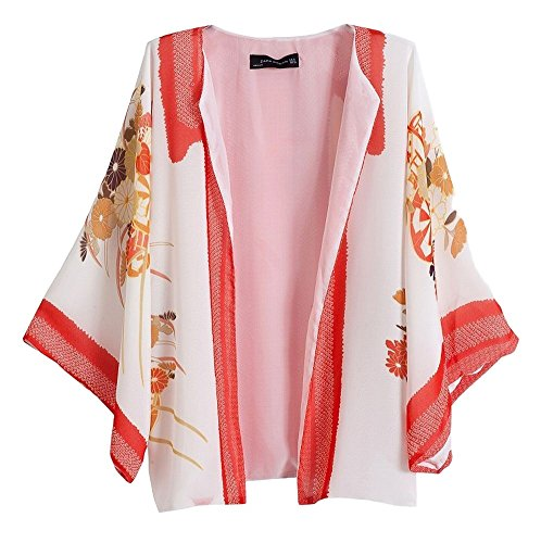 POJ Japanese Kimono Style Chiffon Jacket (Happi Coat) [ M / L For Women ] Cosplay (M)