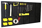 "WallPeg (2) Black Plastic Pegboard Panels – 48"" Wide Garage Tool Pegboard – AM 202"