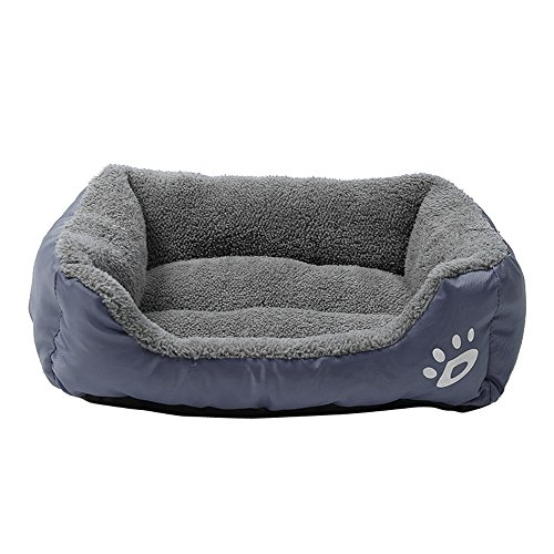 (Padded Pet Bolster Bed, Inkach Lounge Sofa Square Bed for Small Dog Cats Warm Nest Kennel Soft Cushion Cuddler Sleeping Mat Pad (M, Gray))