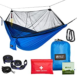 YOLO Outdoors Camping Hammock with Mosquito Net | Double, Reversible, Portable, Lightweight & Ripstop Parachute Nylon with 500 LBS Capacity | Includes Tree Straps, Carabiner & First Aid Kit