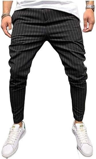 Nicellyer メンズストライプ カラーブロック ファッション ポケット ストレッチファブリック ズボン