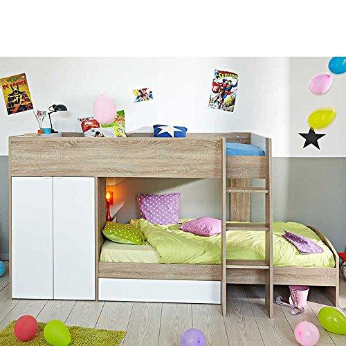Kinderhochbett mit integriertem Schrank 90x200 Pharao24
