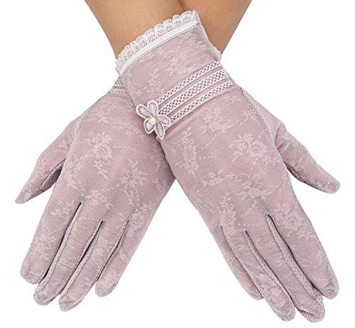Bellady Outdoor Summer Women's Lace Cotton Short Gloves,Screentouch_Purple