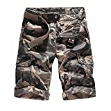 Willsa Men Shorts Casual Pure Color Outdoors Pocket Beach Work Trouser Cargo Shorts Pant