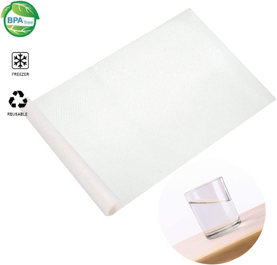 STONE DRUM Shelf Liner, EVA Shelf Liners Can Be Cut Refrigerator Pad Mat Fridge Cushion Liner Non-Adhesive Cupboard Liners Non-Slip Cabinet Drawer Table Liners - 59 x 17.7 in - Transparent