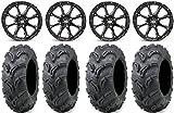 Bundle - 9 Items: STI HD4 12'' Wheels Black 27'' Zilla Tires [4x110 Bolt Pattern 10mmx1.25 Lug Kit]