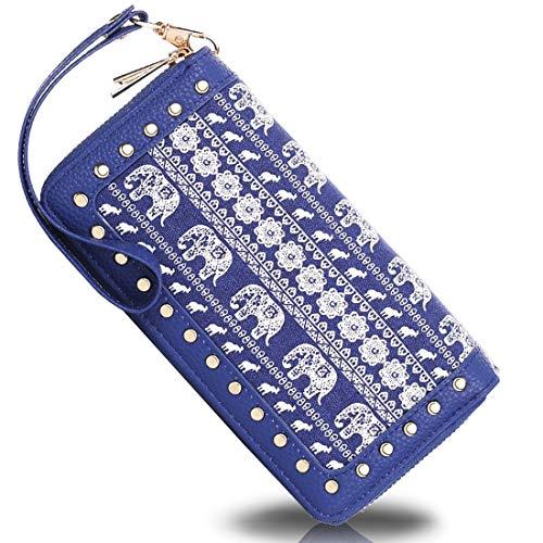 K A Women's RFID Blocking Zip Around Wallet Clutch Large Capacity Travel Purse Chevron Zigzag Bag (Blue-3)