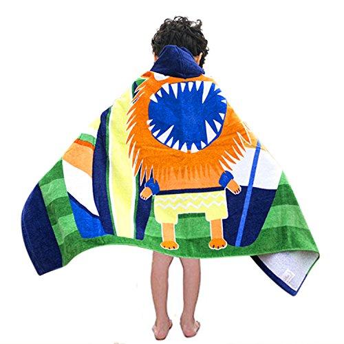 Kids Hooded Bath/Beach Towel Girls Boys Cute Cartoon Animal Full Vitality,100% Cotton (Monster lion) by Bavilk