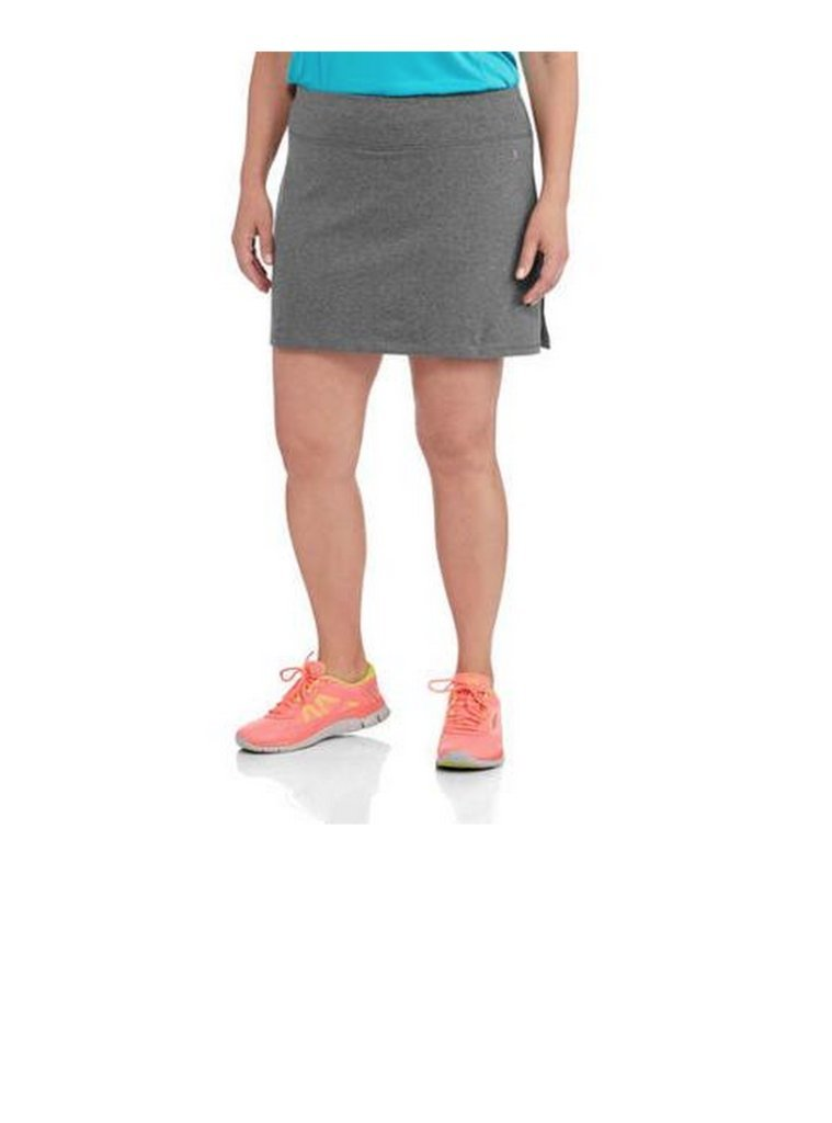 Danskin Now Women's Plus Size Adjustable Waist Hidden Pocket Basic Knit Skort (4X Plus, Grey)