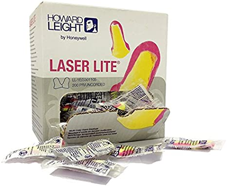 Multi-Colour Howard Leight 3301105 100 Pairs Laser Lite Individually Wrapped Ear Plugs