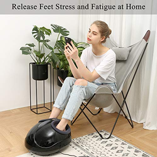 Sotion Shiatsu Foot Massager Machine with Heat, Electric Foot Massage with Adjustable Intensity Air Pressure, Kneading Rolling Relieve Foot Pain from Plantar Fasciitis, Improve Blood Circulation