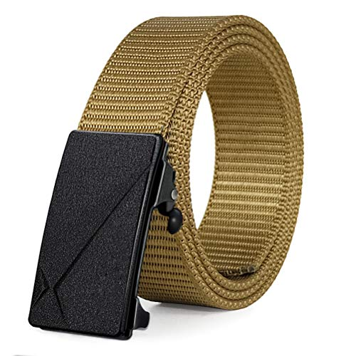 - Fairwin Ratchet Web Belt,1.25 inch Nylon Web Automatic Slide Buckle Belt - No Holes and Invisible Belt Tail Web Belt for Men (Brown-B, M -Waist 36