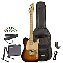 Sawtooth ES Series Electric Guitar Kit with Sawtooth 10 Watt Amp & ChromaCast Accessories, Sunburst w/ Aged White Pickguard