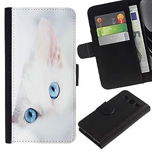 KingStore / Leather Etui en cuir / Samsung Galaxy S3 III I9300 / Gato Gatito blanco Retrato de los ojos azules Mestizo