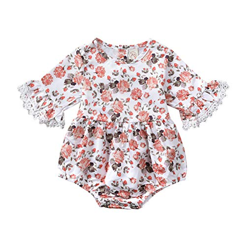 (Baby Girl Clothes Lace Floral Romper Infant Summer Flare Sleeve Button Outfit Newborn Cute Flower Jumpsuit Bodysuit (12-18 Months) White)
