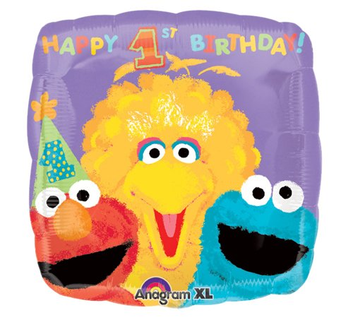 Anagram International Sesame Street 1st Birthday Packaged Party Balloons, 18