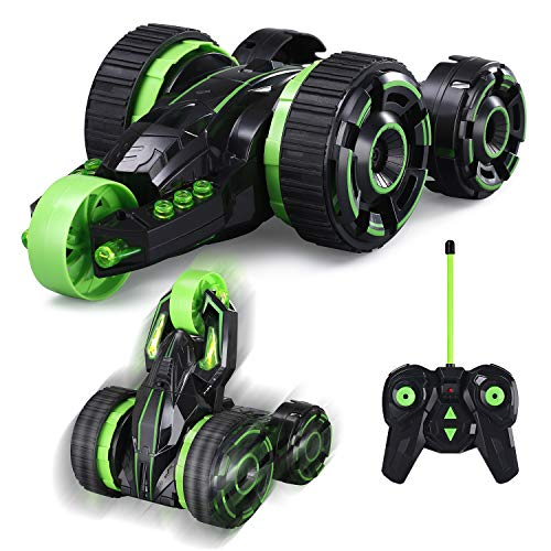 Remote Control Car, RC Stunt 360° Rotating Rolling Double-Sided 3WD Radio Control Cool Toy Vehicle Best Gifts for Boys and Girls Green White MKB(Battery Included)