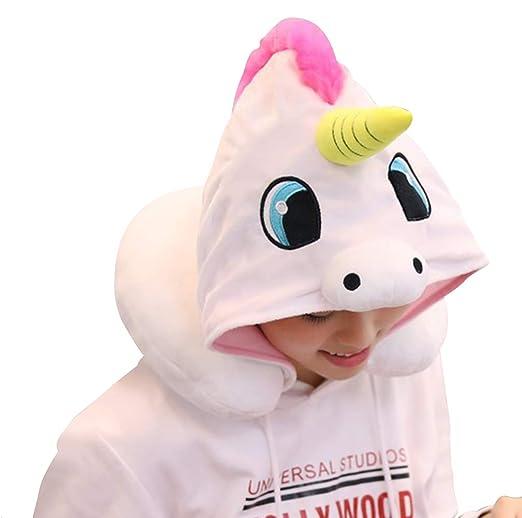 KIKIGOAL Unicornio con Capucha Animal Viaje Cuello Almohada ...