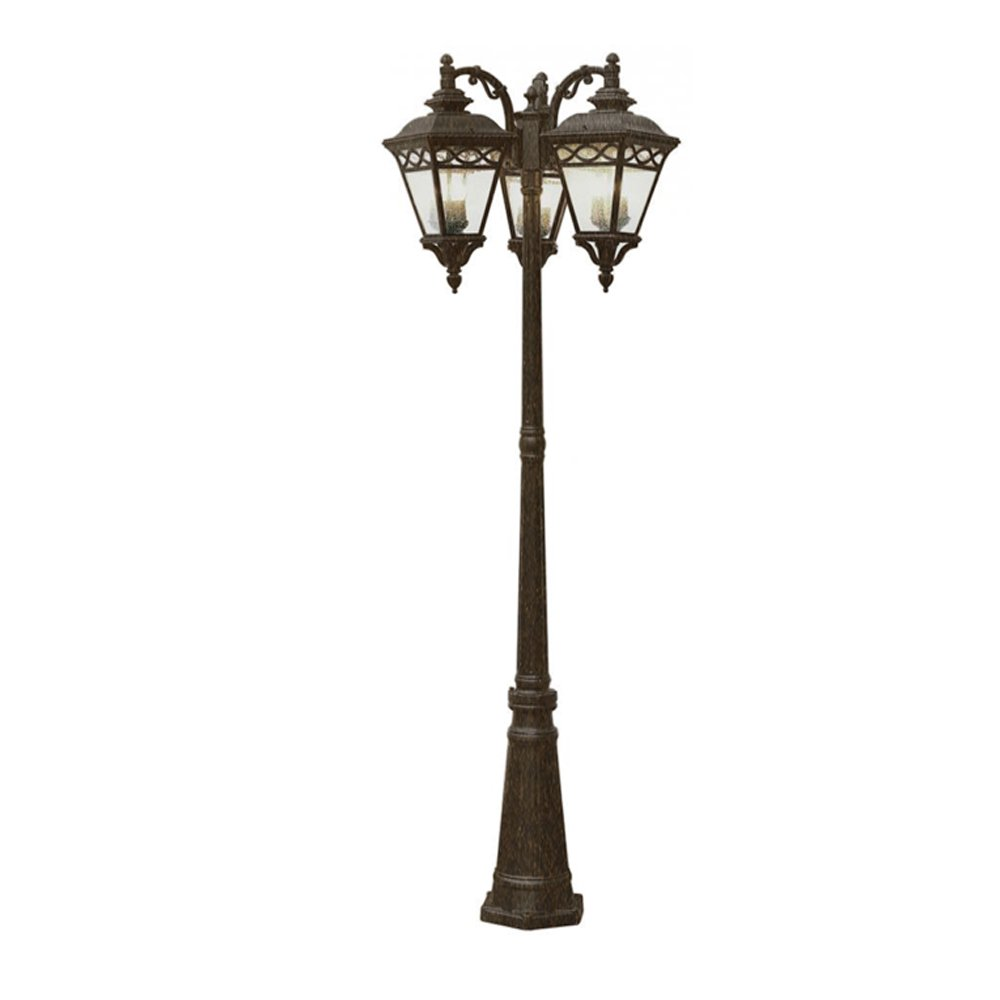 Outdoor 3 Light Lamp Post Amazon transglobe lighting 50518 brb lamp post with seeded amazon transglobe lighting 50518 brb lamp post with seeded glass shades burnished bronze finished home kitchen workwithnaturefo