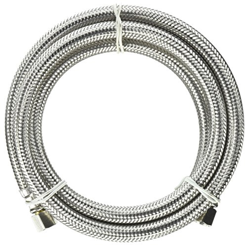 Plumb Pak PP25523 Ice Maker Kit Supply Line 1/4-Inch Compression Inlet by 1/4-Inch Compression Outlet By 60-Inch, (Ice Hose Maker Steel Stainless)
