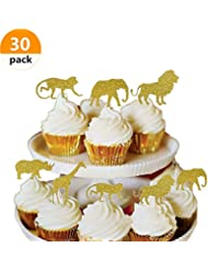 Bozoa (30 pcs) Gold Glitter Jungle Safari Animal Cupcake Toppers Picks Jungle Animals Cake Decorations for Jungle safari Animals Party Baby Showers Birthday Party