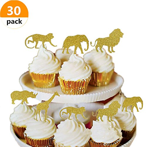 Jungle Safari Cake - Bozoa (30 pcs) Gold Glitter Jungle Safari Animal Cupcake Toppers Picks Jungle Animals Cake Decorations for Jungle safari Animals Party Baby Showers Birthday Party