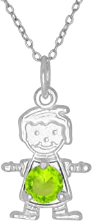 Happy Baby Boy Sterling Silver August Birthstone Pendant Necklace Yellow Stone and Chain