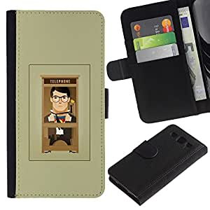 UberTech / Samsung Galaxy S3 III I9300 / Business Cartoon Man Grey Minimalist / Cuero PU Delgado caso Billetera cubierta Shell Armor Funda Case Cover Wallet Credit Card