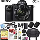 Sony a7 II Full-Frame Alpha Mirrorless Digital Camera 24MP (Black) Body Only a7II ILCE-7M2 Extra Battery Case Memory Card Deluxe Pro Bundle (28-70 Kit, Utility Bundle)