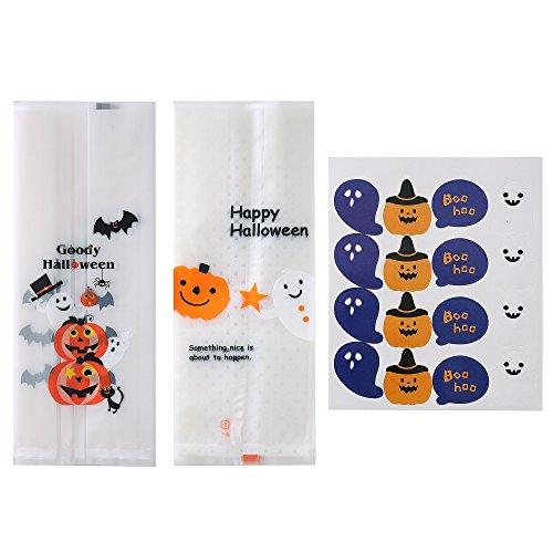 Efivs Arts 100PCS Pumpkin Star Ghost Cute cartoon candy Halloween Cookie Decorating Bags,7 PCS Pumpkin ghost seal -