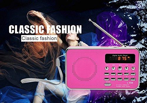 eJiasu Mini-Digital-Lautsprecher MP3 beweglicher FM Radio Musik-Player USB-TF-Mikro-SD-Karten-Unterstützung für PC iPod Phone Rosa Xy5VZ0V