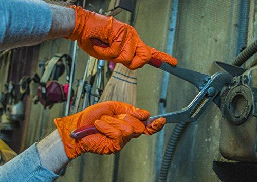 SupplyMaster - SMDTON8M - Diamond Texture Nitrile Gloves - Disposable, Powder Free, Industrial, 8 mil, Medium, Orange (Case of 200) by SupplyMaster (Image #7)
