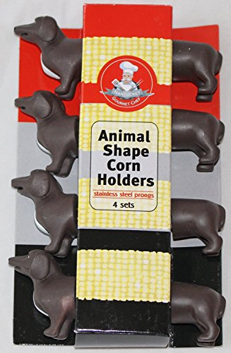 Gourmet Chef Animal (Dachund) Shaped Corn on the Cob Holders- *2 pack*- (8 Sets) by Gourmet Chef