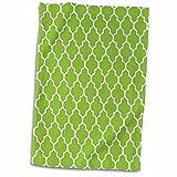 3D Rose Bright Green Quatrefoil Pattern Lime Moroccan Tiles Retro Islamic Art White Geometric Clover Lattice Hand/Sports Towel, 15 x 22, Multicolor