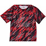 Under Armour Boys Big Logo Hybrid 2.0 Short Sleeve Printed T, Red/Overcast Grey, YS