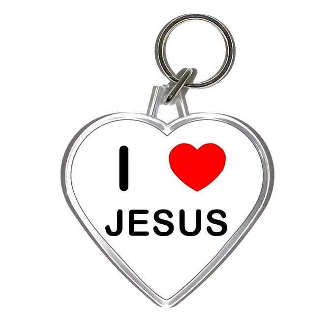 Amazon.com: I Love corazón de Jesús – Llavero de plástico en ...