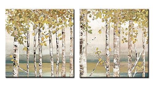 Decor Well 2 Pieces Modern Aspen Canvas Art Decor, Rustic White Birch Tree Painting Print on Stretched Canvas for Wall Decoration (Art Wall Birch River)